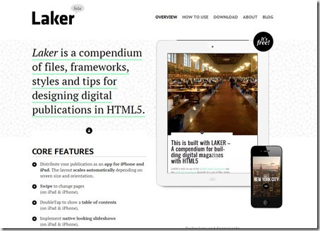 Laker, plantilla gratuita para publicaciones de IPhone o Ipad