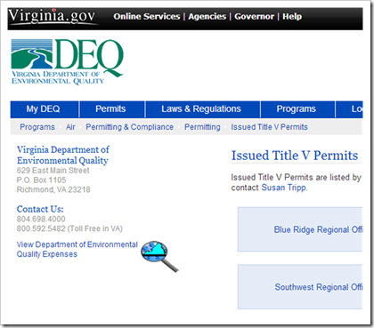 Virginia DEQ Department of Environmental Quality Issued Title V Permits