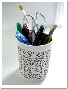 Toothbrush holder as pencil cup {Little Victorian}