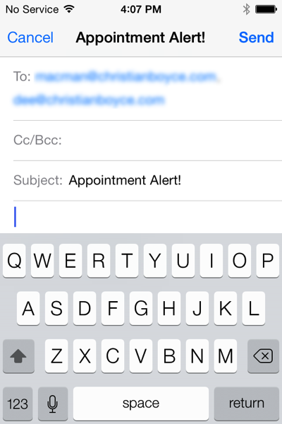 Launch Center Pro Appointment Alert in action