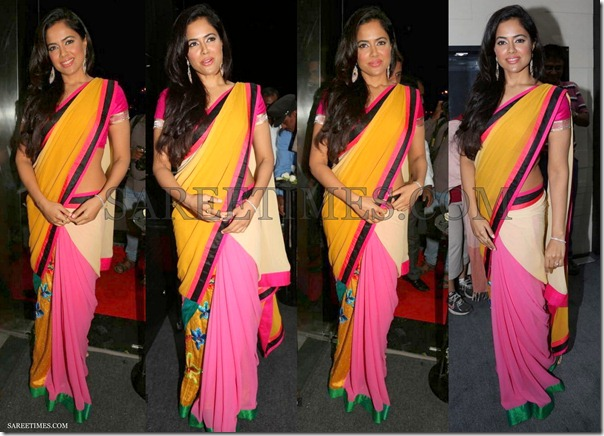 Sameera_Reddy_Yellow_Pink_Saree