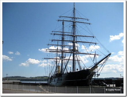 Royal Research ship Discovery at Dundee. Famous for Antarctic research voyages in 1903. Back where she was built.