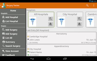 Screenshot of Surgery Tracker