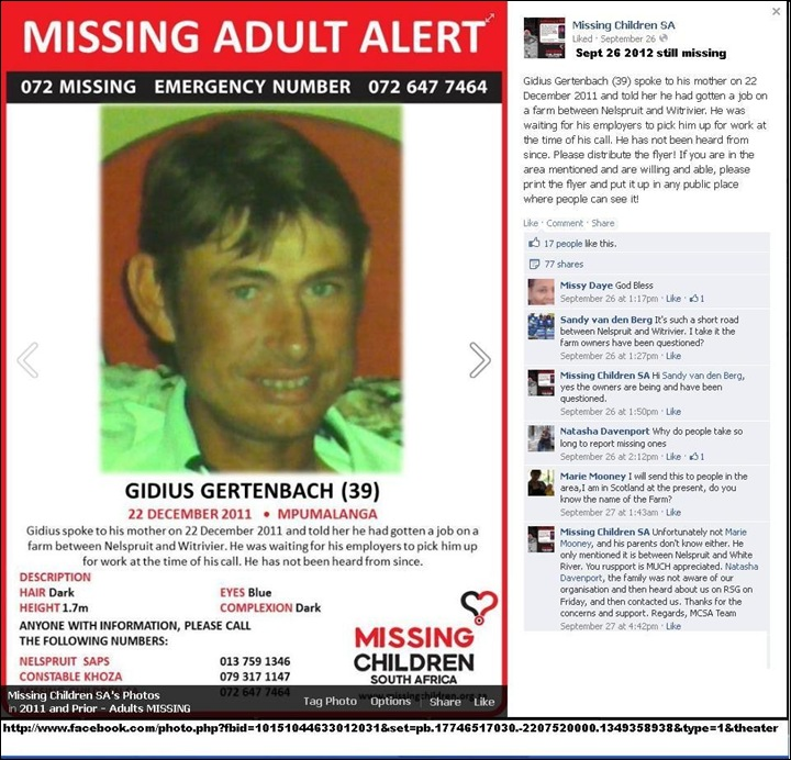 Gertenbach Gidius 39 farm worker Afrikaner missing since 22 Dec 2011 enroute to Nelspruit Witrivier job