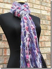 purple pink gray scarf handmade