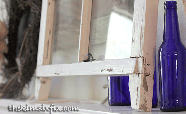 Old vintage window and bottles