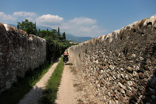 Riding on old road through italian villages.