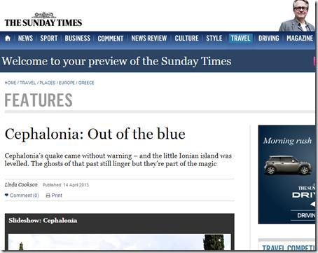 Άρθρο των Sunday Times για την Κεφαλονιά