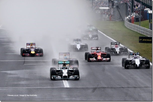 BUDAPEST, HUNGARY - JULY 27:  Nico Rosberg of Germany and Mercedes GP leads the field into the first corner during the Hungarian Formula One Grand Prix at Hungaroring on July 27, 2014 in Budapest, Hungary.  (Photo by Mark Thompson/Getty Images) *** Local Caption *** Nico Rosberg