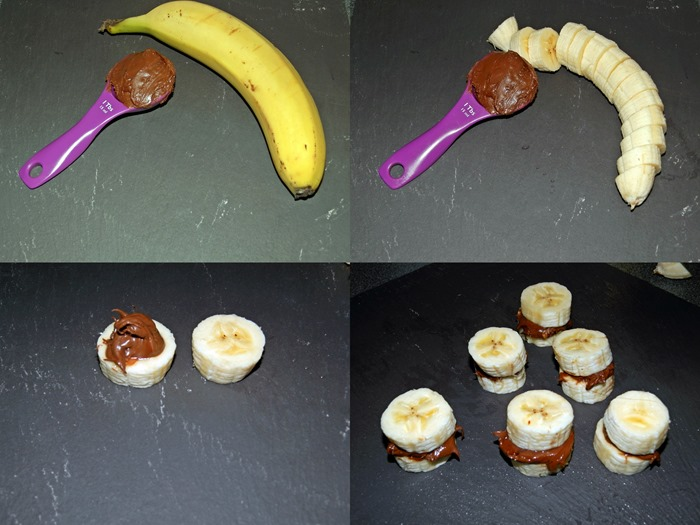 Health snack banana and nutella