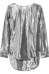 Karl Batya wrap-effect metallic silk-blend crepe top