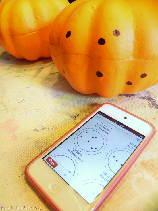 Drilled Constellation Pumpkins - copy constellation onto pumpkin