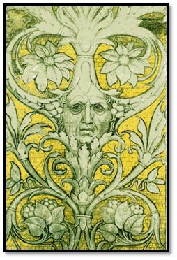 Autorretrato de Mantegna como 'hombre arbol' rn la Camara de los Esposos, Palacio Ducal de Mantua.