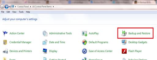 การสำรองข้อมูลใน windows 7