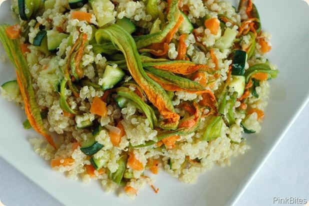 zucchini blossom quinoa salad