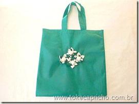 Sacola Ecológica verde com flor de tecido