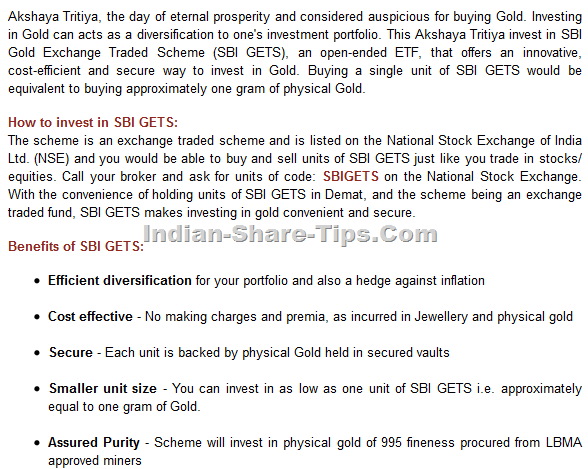 SBI Gold Exchnage Traded Scheme