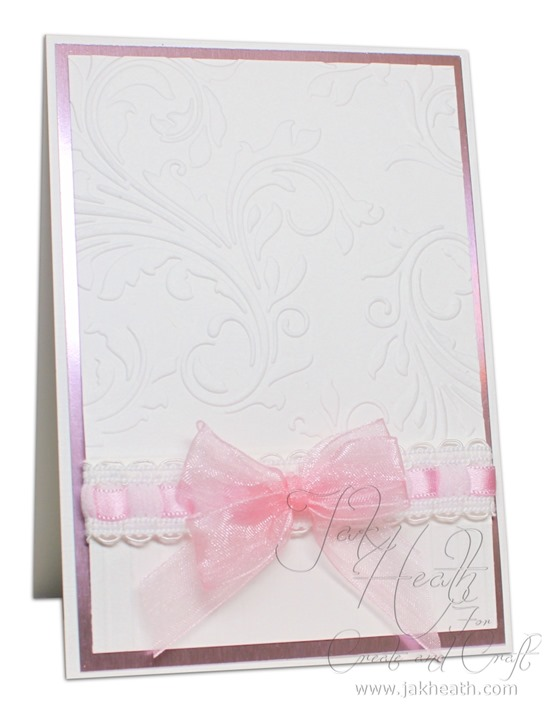 Mirror board and linen embossed card.