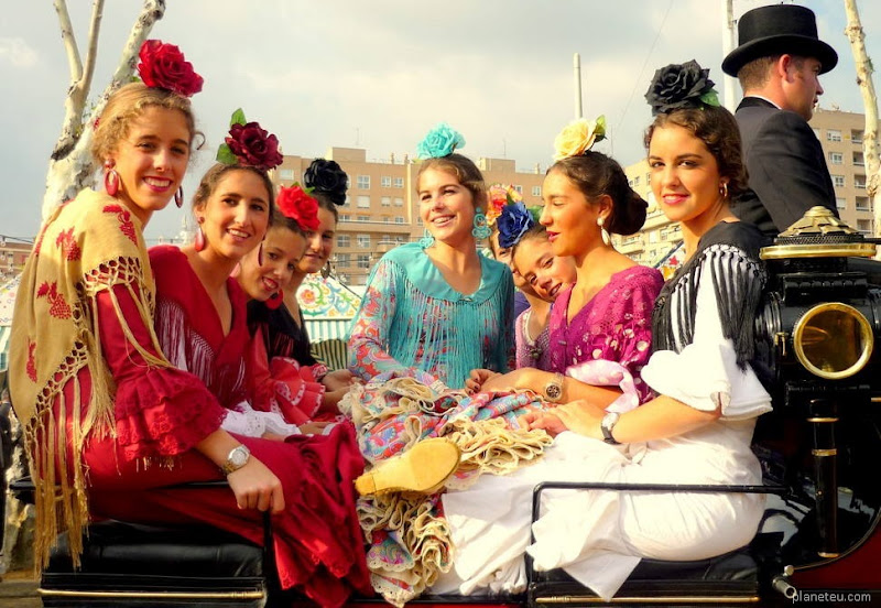 Women wears traditional flamenco and gypsy dresses