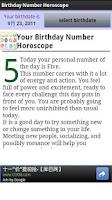 Screenshot of Birthday Number Horoscope