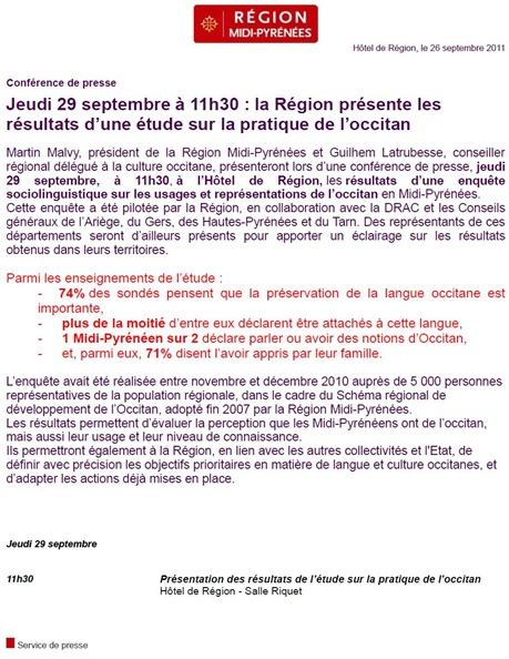 anóncia d'una conferéncia de premsa occitan