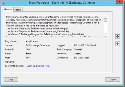 Event id 106 msexchange common performance counter updating error