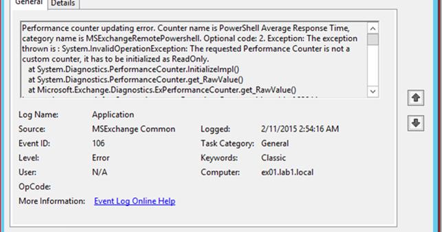 Msexchange common 106 performance counter updating error