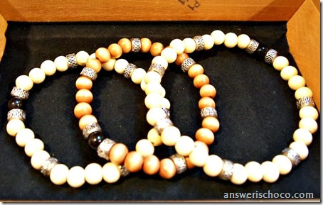Wood Bead and Silver Bracelets