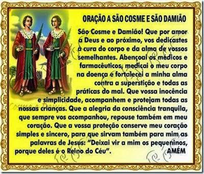 27 DE SETEMBRO...ORAÇÃO A SÃO COSME E DAMIÃO