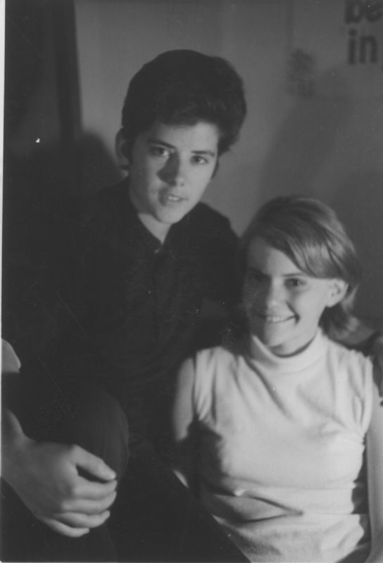 Jeanne Cordova and girlfriend Janie Elvin. They met in high school, then met back up at Harvard where they became lovers. Circa 1969.
