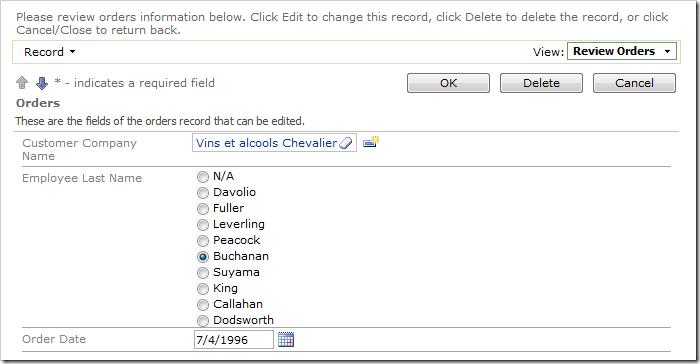 Employee Last Name lookup field configured as a single column radio button list.