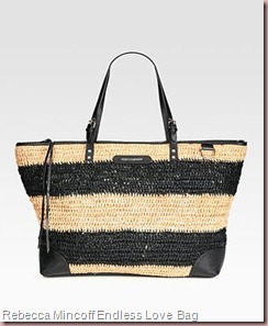Rebecca Mincoff Endless Love Straw & Leather Tote Bag