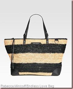 Rebecca Mincoff Endless Love Straw & Leather Tote Bag