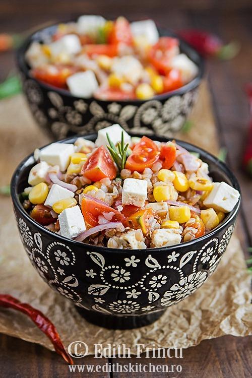 Salata cu hrisca si rosii cherry