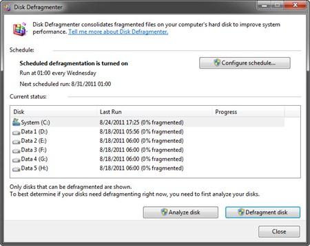 Tampilan aplikasi Disk Defragmenter