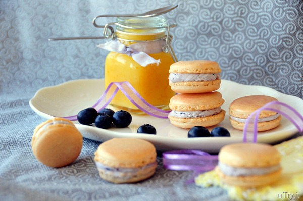 Meyer Lemon Macarons with Meyer Lemon Curd and Blueberry Buttercream