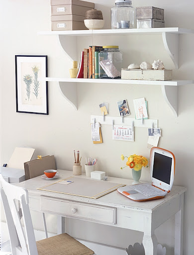 One of the essential elements of a home office is shelving. These shelves hold items that are not used frequently, but need to be within an arm's reach.