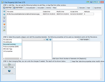 Change File Attributes with Free File Property Editor