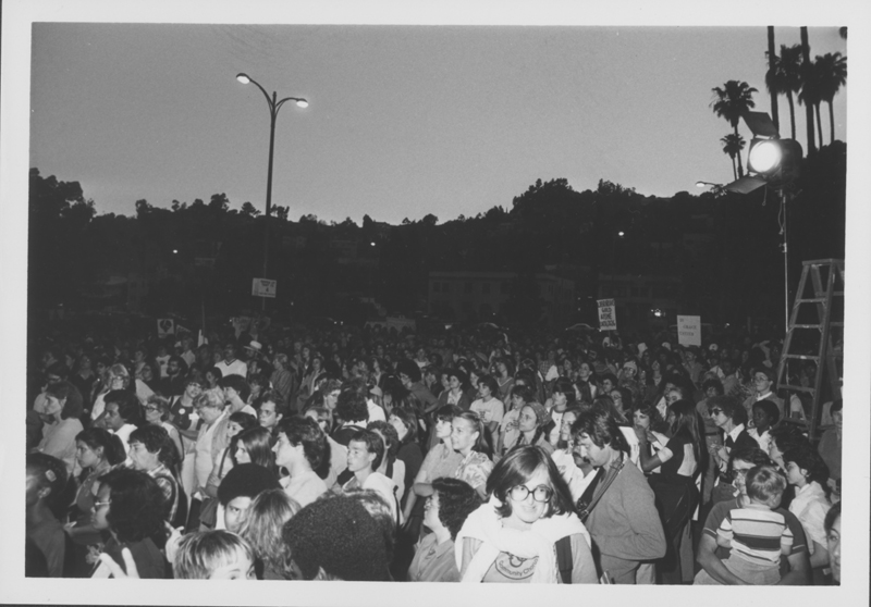 Crowd gathers at the start of the Women Take Back the Night march. April 19, 1980.