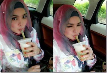 Gambar comel Datuk Siti Nurhaliza minum cendol 1