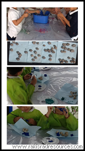 Making rocks and volcano crafts in the kindergarten class at the International School of Morocco