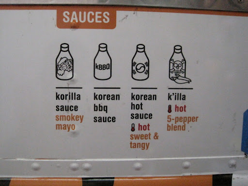 The sauces available at Korilla BBQ for your burrito, taco or chosun bowl. Sierra recommends the korilla sauce.