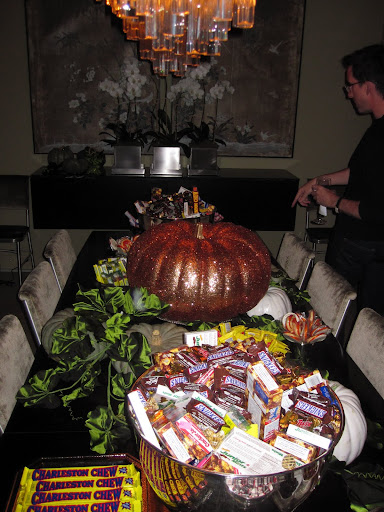 The table is ready for guests to pick out treats.
