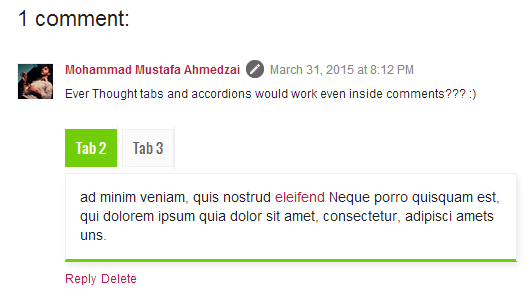 tabs inserted inside blog comments