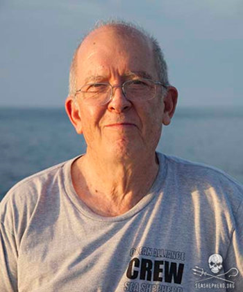 Whale researcher Dr. Roger Payne. Dr. Payne's research shows that ocean pollution is the greatest threat to whales. Photo: Sea Shepherd