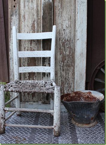 empty chair rusty bucket