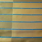 """Butikowa tkanina typu """"tafta"""". W pasy. Na zasłony, poduszki, narzuty, dekoracje. Trudnopalna. Niebieska."""