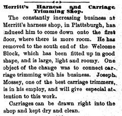 Newspaper -- Plattsburgh Sentinel, 1883, MOSSEY, Joseph