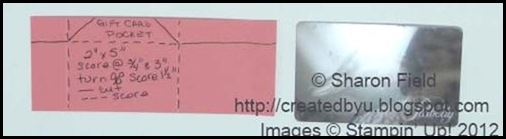 how to cut and score gift card pocket for inside of card.