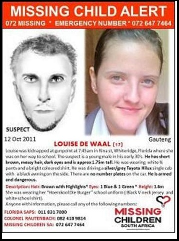 DE WAAL Louise KIDNAPPER IDENTIKIT OCT 12 2011